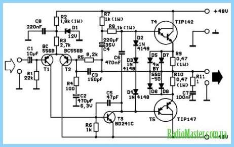 Печатная Схема усилителя звука