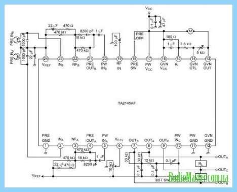 TA2145 Схема усилителя для