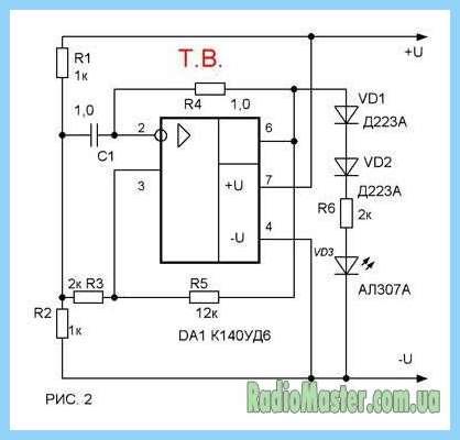 Схем пробника со световой и звуковой сигнал.