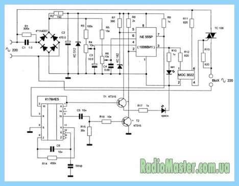 Схема цикличного таймера на КР512ПС10.