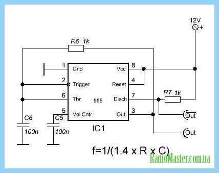 Схема генератора прямоугольных импульсов на ne555.