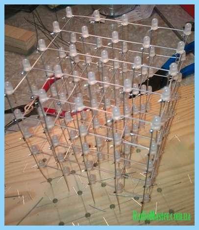 Led куб 8х8х8. Макет схемы