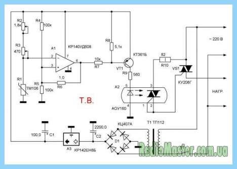 Схема терморегулятора на операционном усилителе.